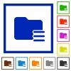 Folder options framed flat icons - Set of color square framed Folder options flat icons