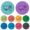 Color desktop computer flat icons - Color desktop computer flat icon set on round background.