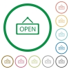 Set of open sign color round outlined flat icons on white background - Open sign outlined flat icons