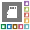 Micro SD memory card square flat icons - Micro SD memory card flat icon set on color square background.