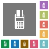 POS terminal square flat icons - POS terminal flat icon set on color square background.