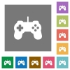 Game controller square flat icons - Game controller flat icon set on color square background.