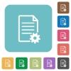 Flat document setup icons on rounded square color backgrounds. - Flat document setup icons