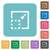 Flat minimize element icons - Flat minimize element icons on rounded square color backgrounds.