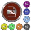 Color JS file format buttons - Set of color glossy coin-like JS file format buttons.