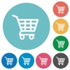 Flat shopping cart icons - Flat shopping cart icon set on round color background.