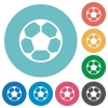 Flat soccer ball icons - Flat soccer ball icon set on round color background.