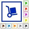 Parcel delivery framed flat icons - Set of color square framed Parcel delivery flat icons