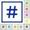 Hashtag framed flat icons - Set of color square framed hashtag flat icons