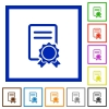 Certificate framed flat icons - Set of color square framed certificate flat icons