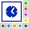 Clock framed flat icons - Set of color square framed clock flat icons