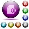 Dollar money report glass sphere buttons - Set of color dollar money report glass sphere buttons with shadows.