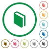 Book outlined flat icons - Set of book color round outlined flat icons on white background
