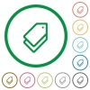 Set of tags color round outlined flat icons on white background - Tags outlined flat icons