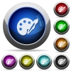 Paint button set - Set of round glossy paint buttons. Arranged layer structure.