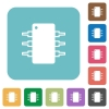 Flat integrated circuit icons - Flat integrated circuit icons on rounded square color backgrounds.