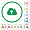 Set of cloud upload color round outlined flat icons on white background - Cloud upload outlined flat icons