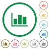 Statistics outlined flat icons - Set of statistics color round outlined flat icons on white background