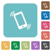 Flat ringing phone icons - Flat ringing phone icons on rounded square color backgrounds.