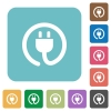 Flat power cord icons - Flat power cord icons on rounded square color backgrounds.