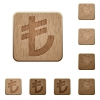 Turkish lira sign wooden buttons - Set of carved wooden Turkish lira sign buttons in 8 variations.