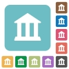 Flat bank icons on rounded square color backgrounds. - Flat bank icons