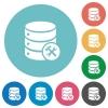 Flat Database maintenance icons - Flat Database maintenance icon set on round color background.