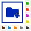 Add new folder framed flat icons - Set of color square framed Add new folder flat icons