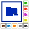 Remove folder framed flat icons - Set of color square framed Remove folder flat icons