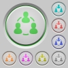 Online users push buttons - Set of color Online users sunk push buttons.