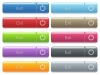 Exit captioned menu button set - Set of exit glossy color captioned menu buttons with embossed icons