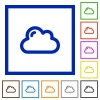 Cloud framed flat icons - Set of color square framed cloud flat icons