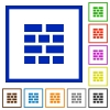 Brick wall framed flat icons - Set of color square framed brick wall flat icons