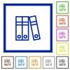 Document folders framed flat icons - Set of color square framed Document folders flat icons