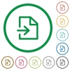 Import outlined flat icons - Set of Import color round outlined flat icons on white background