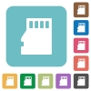 Flat micro SD memory card icons - Flat micro SD memory card icons on rounded square color backgrounds.