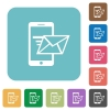 Flat sending email icons - Flat sending email icons on rounded square color backgrounds.