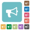 Flat megaphone icons - Flat megaphone icons on rounded square color backgrounds.