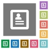 User profile square flat icons - User profile flat icon set on color square background.
