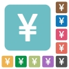 Flat yen sign icons - Flat yen sign icons on rounded square color backgrounds.