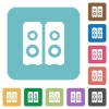 Flat speakers icons - Flat speakers icons on rounded square color backgrounds.