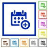 Add to calendar framed flat icons - Set of color square framed Add to calendar flat icons