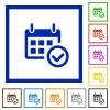 Calendar check framed flat icons - Set of color square framed Calendar check flat icons