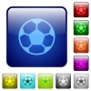 Color soccer ball square buttons - Set of soccer ball color glass rounded square buttons