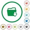 Download folder outlined flat icons - Set of Download folder color round outlined flat icons on white background