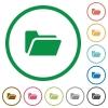 Folder open outlined flat icons - Set of Folder open color round outlined flat icons on white background