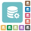 Flat database configuration icons - Flat database configuration icons on rounded square color backgrounds.