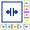 Vertical split framed flat icons - Set of color square framed Vertical split flat icons