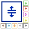 Horizontal split framed flat icons - Set of color square framed Horizontal split flat icons