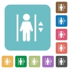 Flat elevator icons - Flat elevator icons on rounded square color backgrounds.